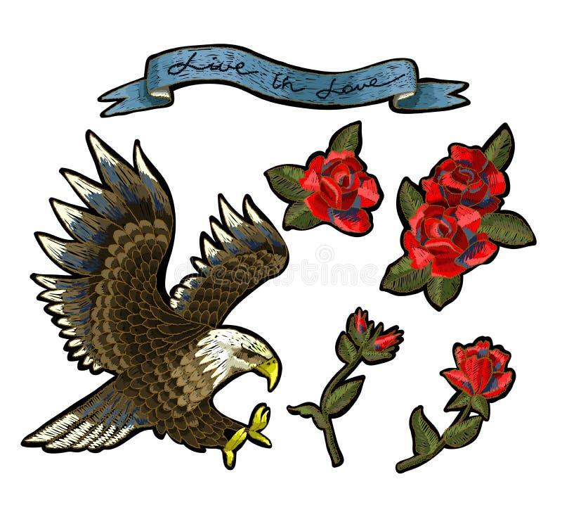 Bordado con las rosas y un Eagle-símbolo de la libertad Ilustración del vector libre illustration