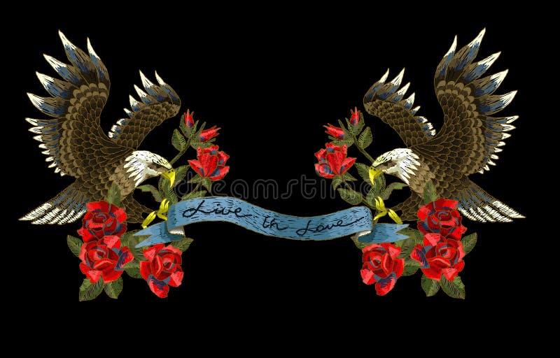 Bordado con las rosas y un Eagle-símbolo de la libertad Ilustración del vector ilustración del vector
