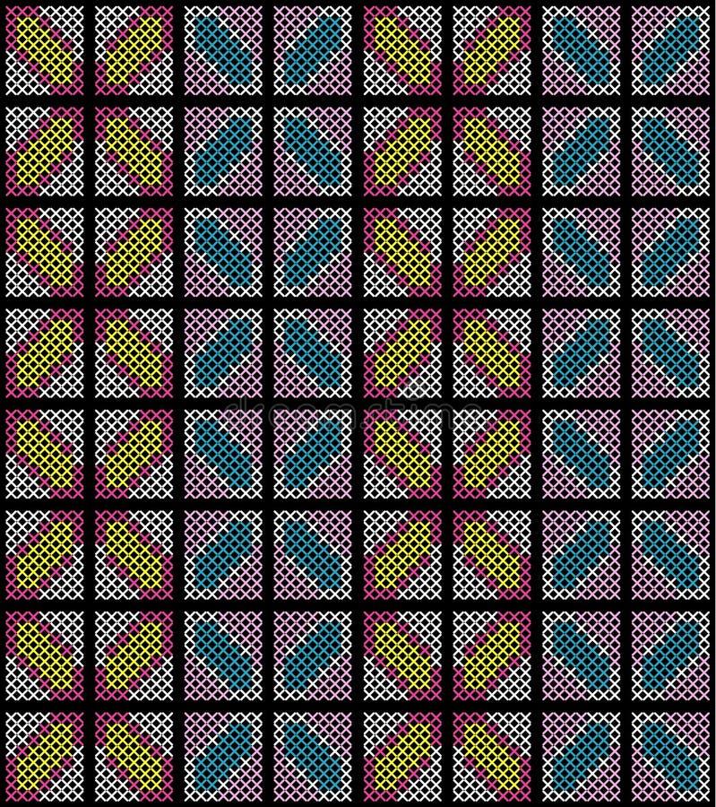 Bordado cruzado abstracto colorido de la puntada del modelo inconsútil en vector negro del fondo stock de ilustración