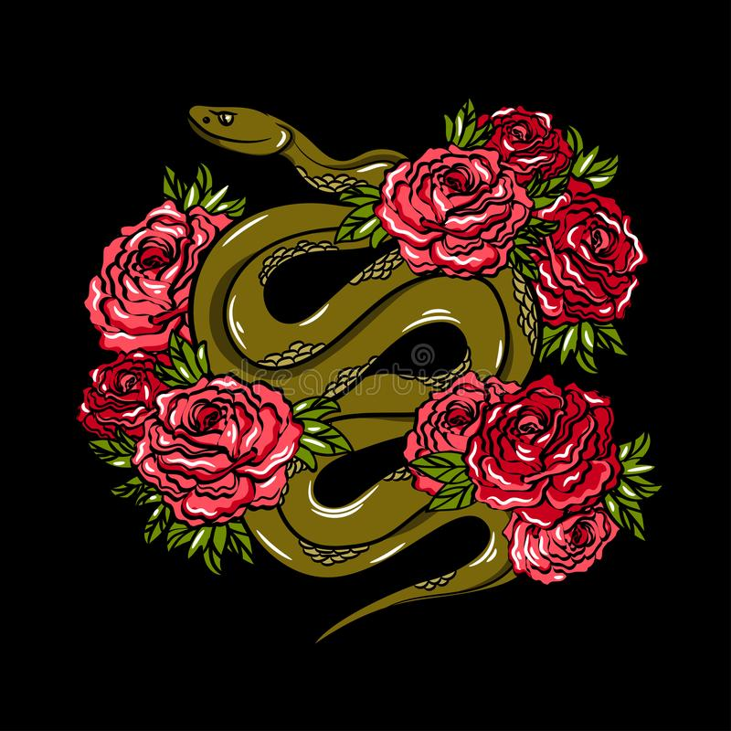 Bordado da forma com serpente verde e rosas Ilustração na moda com animal e flores em um fundo escuro ilustração royalty free