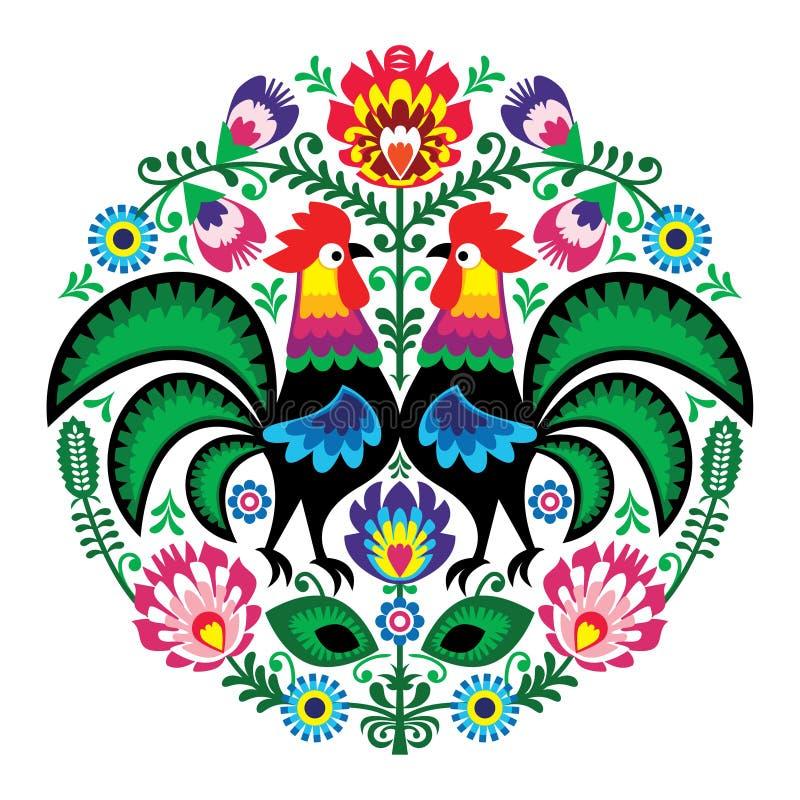 Bordado de flores polaco con los gallos, modelo tradicional - Wycinanki Lowickie del arte popular ilustración del vector