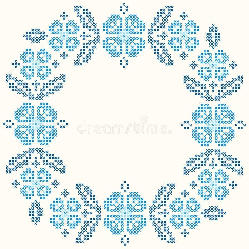 bordado de la Cruz-puntada en estilo ucraniano Bordado alrededor de marco floral libre illustration
