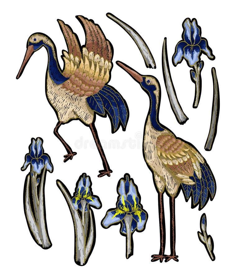 bordado de la Garza-grúa con las flores del iris Moda del vector bordada stock de ilustración