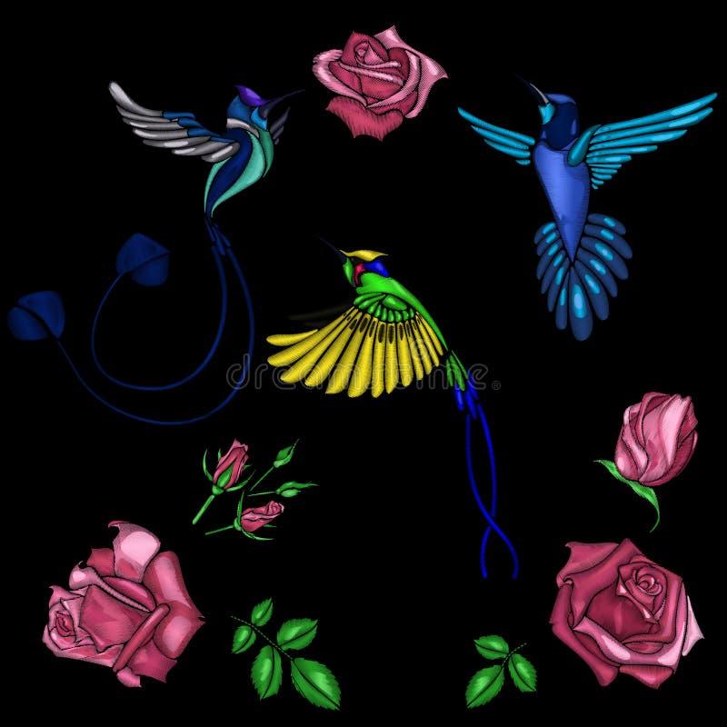 Bordado de Rosa e de pássaro ilustração do vetor
