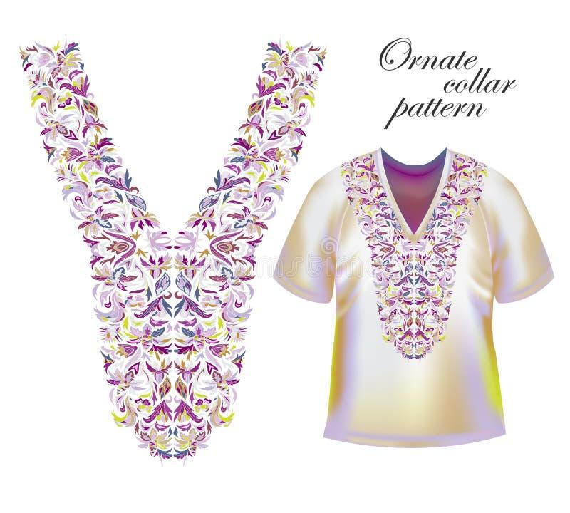 Bordado del escote Cuello de moda hermoso bordado en la técnica del punto de cruz - vector común stock de ilustración