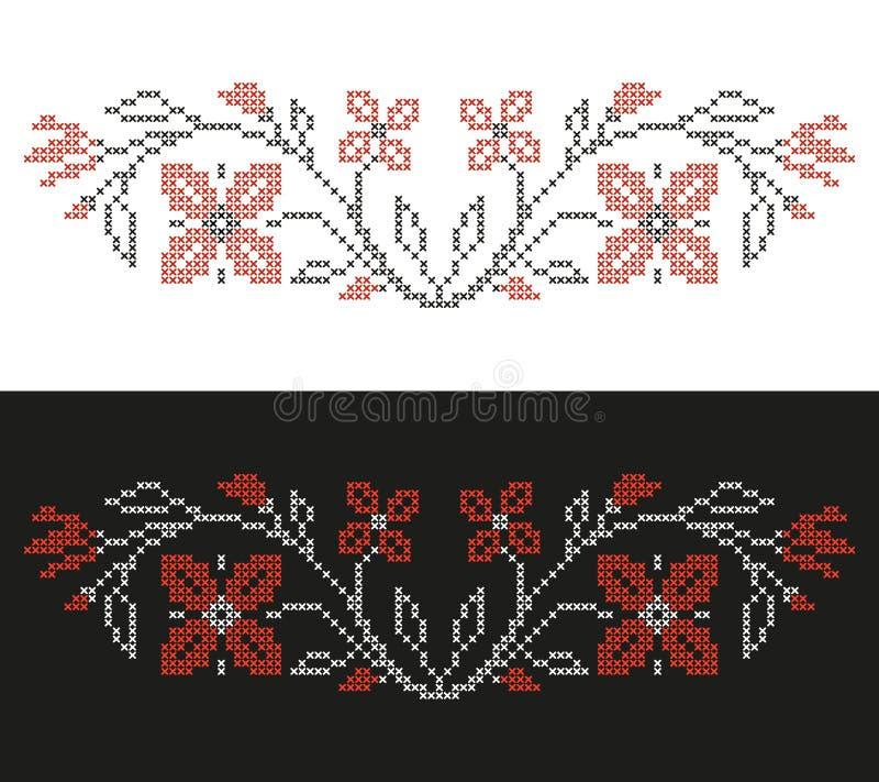Bordado do ponto de cruz no estilo ucraniano, em flores bordadas e em ABC, beira floral ilustração do vetor
