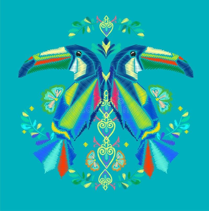 Download Bordado do tucano tropical ilustração do vetor. Ilustração de elegante - 107527099