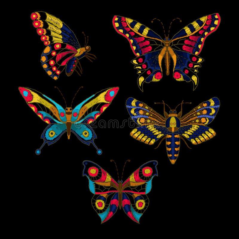 Bordado do vetor da borboleta para o projeto de matéria têxtil ilustração do vetor