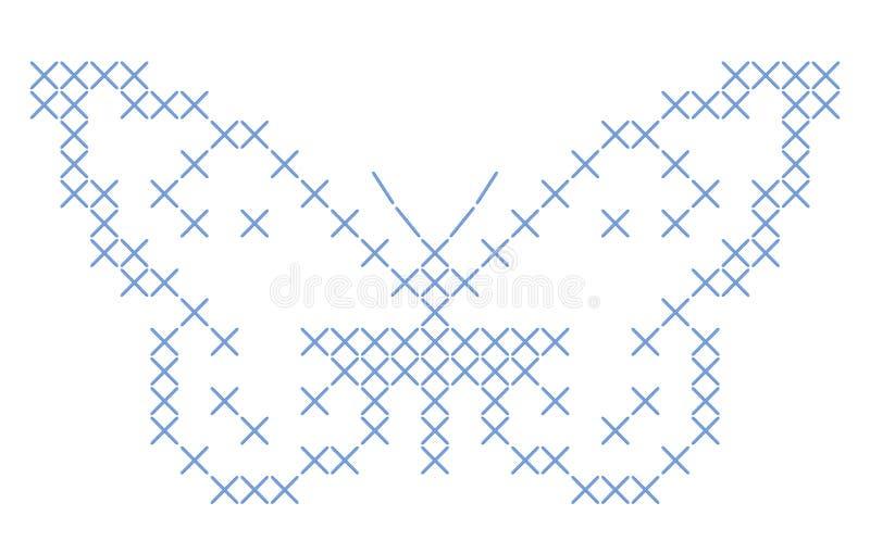 Bordado entrecruzado de la puntada de la mariposa ilustración del vector