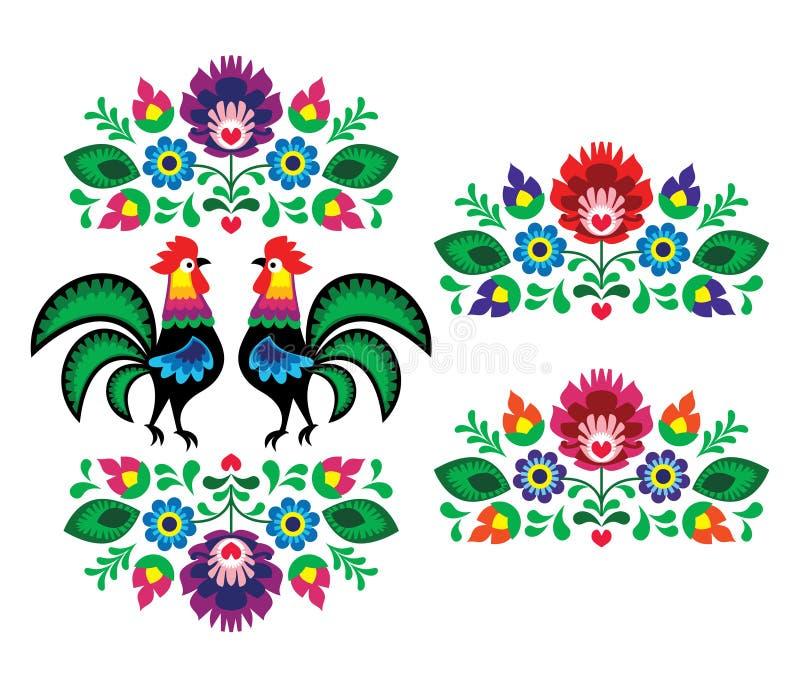 Bordado floral étnico polonês com galos - teste padrão popular tradicional ilustração do vetor