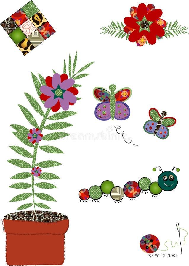 Bordado floral decorativo ilustração stock