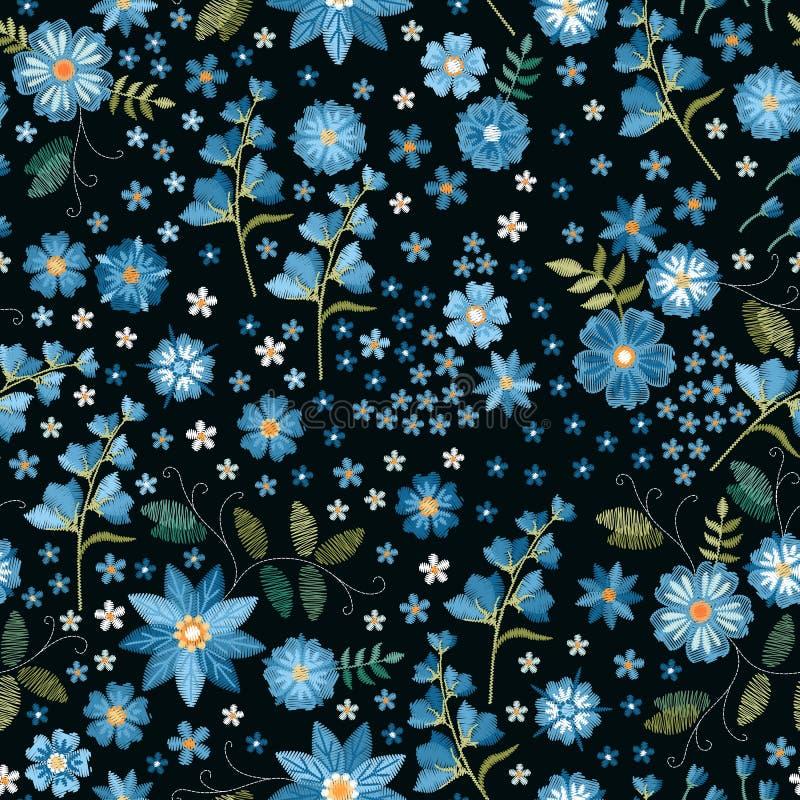 Bordado floral Teste padr?o sem emenda bordado Flores azuis do bordado no fundo preto Cópia para a tela e a matéria têxtil ilustração do vetor