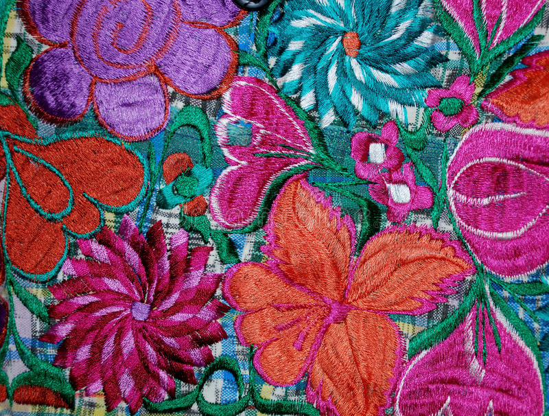 Bordado mexicano colorido foto de archivo libre de regalías