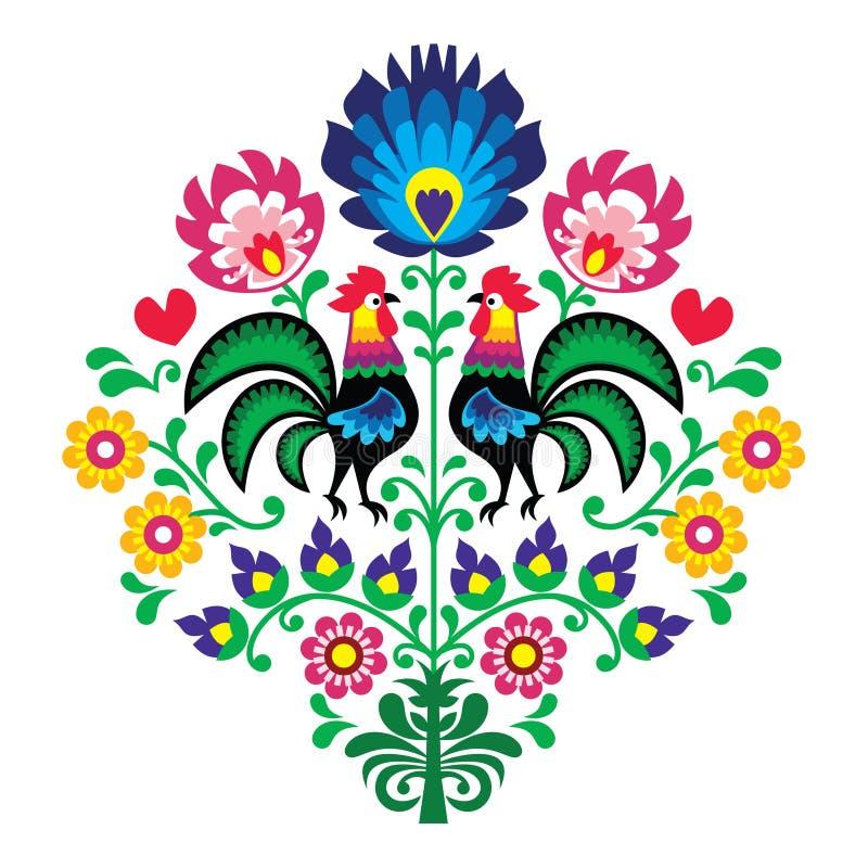 Bordado popular polaco con los gallos - estampado de flores Wzory Lowickie Wycinanka ilustración del vector