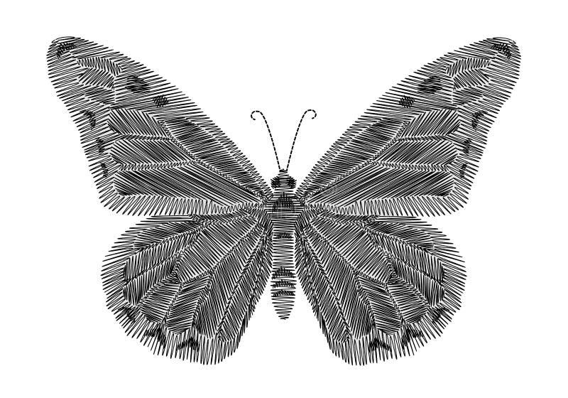 Bordado preto da borboleta no fundo preto linha étnica vestir do pescoço da forma dos gráficos do projeto ilustração stock