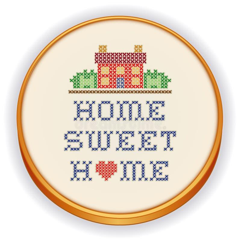 Bordado, puntada cruzada casera dulce del hogar ilustración del vector