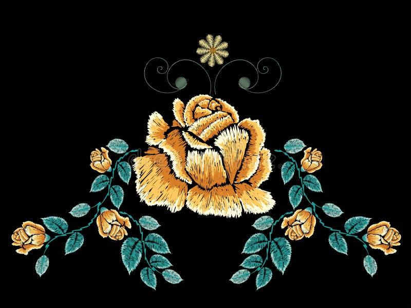 Bordado Rose Ornament stock de ilustración