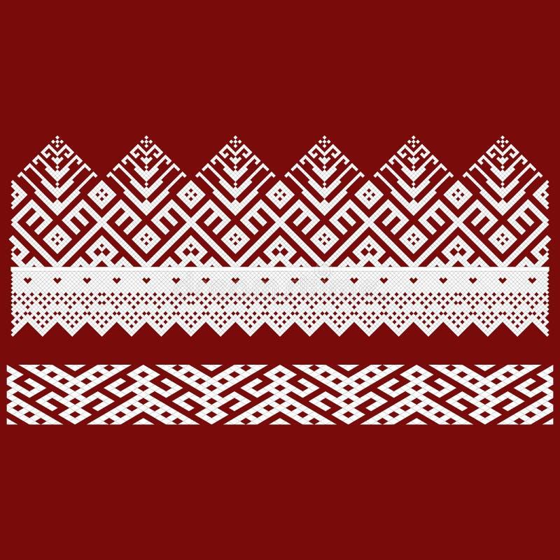 Bordado tradicional Vector el ejemplo de los modelos geométricos ornamentales inconsútiles étnicos para su diseño ilustración del vector