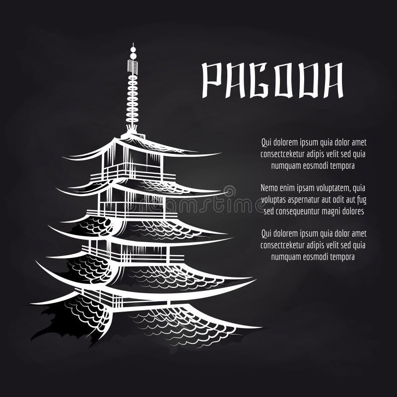 Bordaffiche met Aziatische pagode vector illustratie