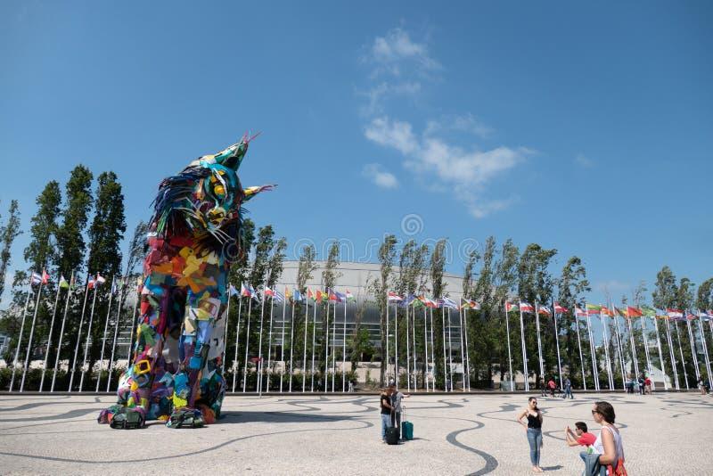 Bordalo ΙΙ ιβηρικά λυγξ, καλλιτεχνική εγκατάσταση στο Parque DAS Nações, Λισσαβώνα, Πορτογαλία στοκ φωτογραφίες με δικαίωμα ελεύθερης χρήσης