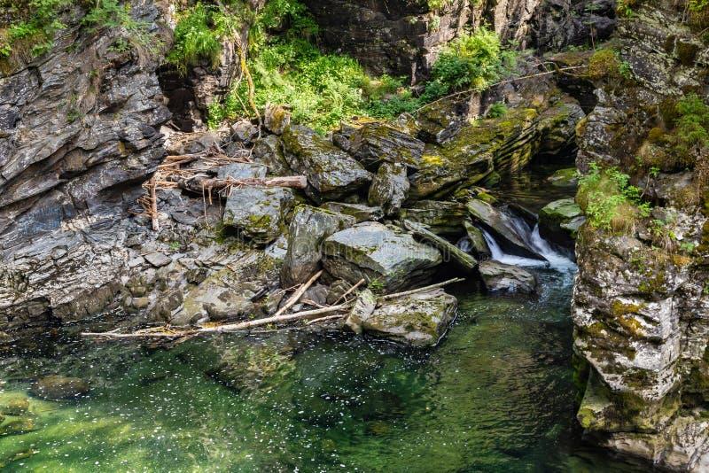 Bordalsgjelet峡谷在沃斯,霍达兰,挪威 图库摄影