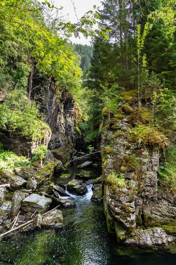 Bordalsgjelet峡谷在沃斯,霍达兰,挪威 免版税库存图片