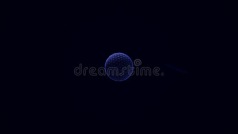 Bordas de néon abstratas do cubo que gerenciem caoticamente, formas dos distortings no fundo preto Volume branco e azul geométric ilustração do vetor