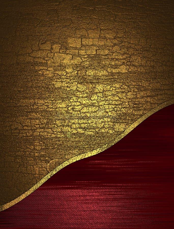 Borde amarillo agrietado del rojo de la textura stock de ilustración