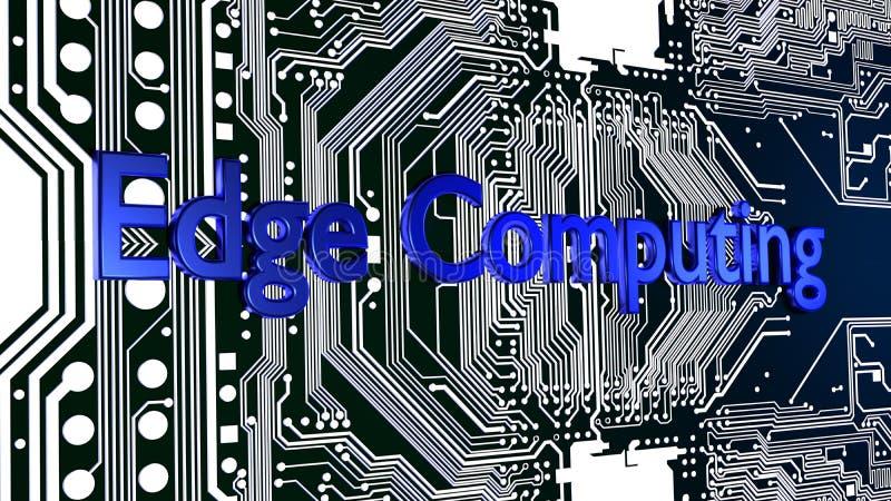 Borde azul de la palabra que computa encima de la placa de circuito que brilla intensamente 3D ilustración del vector