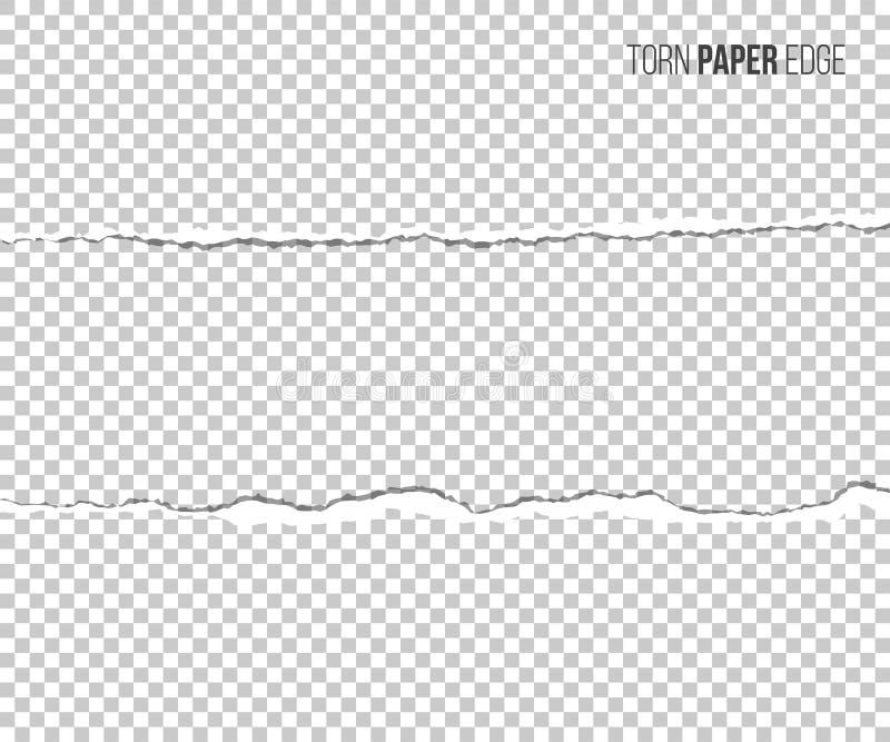 Borde de papel rasgado con la sombra aislada en fondo transparente Elemento del diseño del vector libre illustration