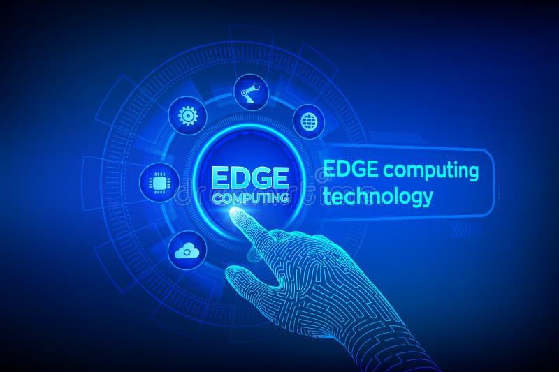 Borde que computa tecnolog?a moderna de las TIC en concepto de la pantalla virtual Industria de computación del borde 4 La palabr libre illustration