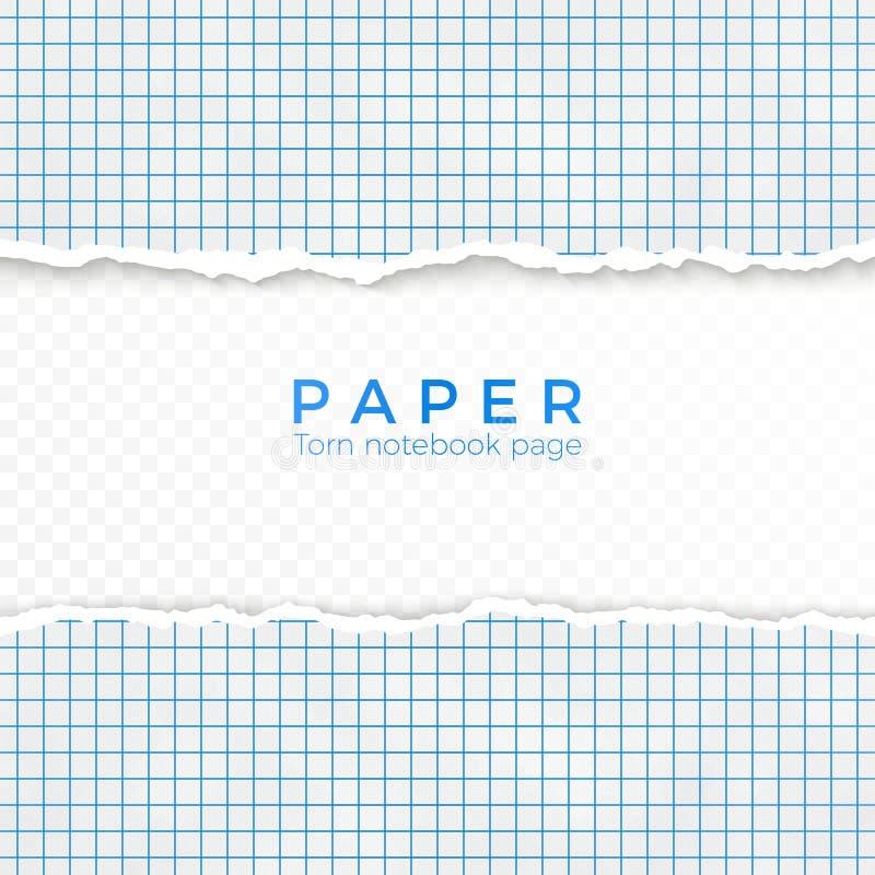 Borde rasgado del papel ajustado azul Pedazo rasgado de papel ajustado del cuaderno Página en blanco aislada en fondo transparent stock de ilustración