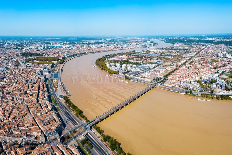 Bordeaux aerial panoramic view, France. Bordeaux aerial panoramic view. Bordeaux is a port city on the Garonne river in Southwestern France stock photography