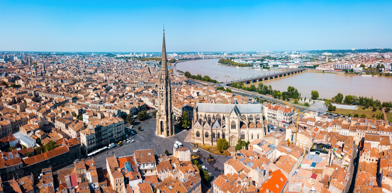 Bordeaux aerial panoramic view, France. Bordeaux aerial panoramic view. Bordeaux is a port city on the Garonne river in Southwestern France stock photo