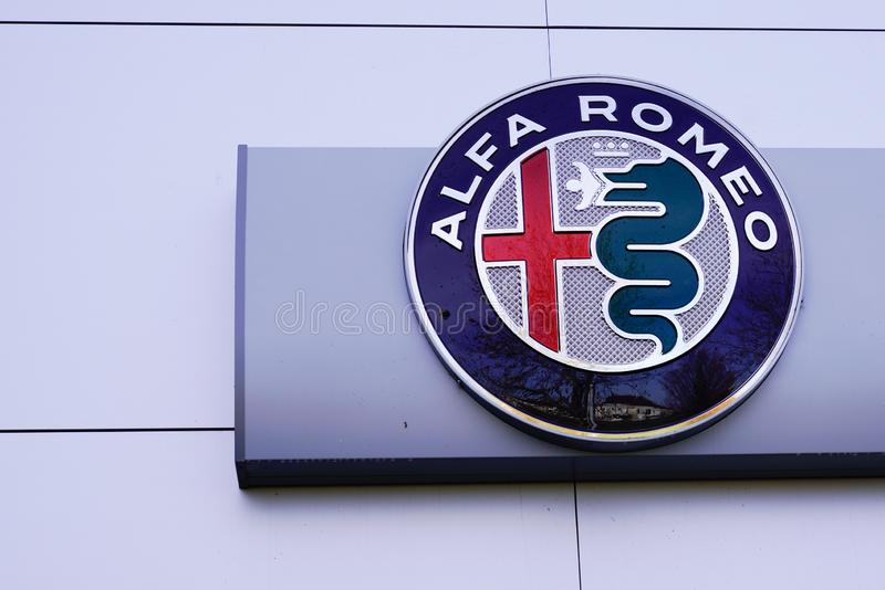 Bordeaux , Aquitaine / France - 12 04 2019 : Alfa Romeo logo italian store motor company car shop Automobiles sign manufacturer. Bordeaux  , Aquitaine / France royalty free stock photos