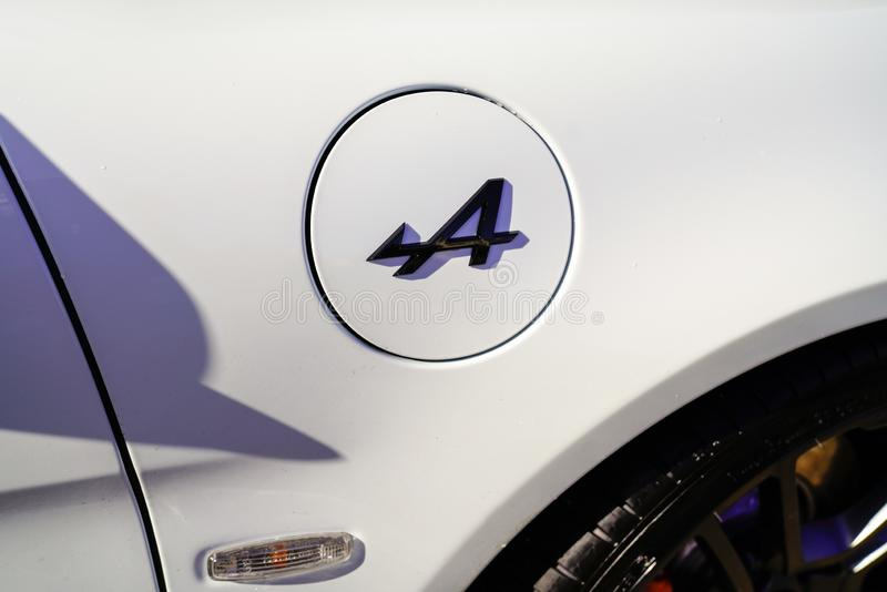 Bordeaux , Aquitaine / France - 10 15 2019 : a Alpine A110 logo sports car detail white sign body Renault racing royalty free stock image
