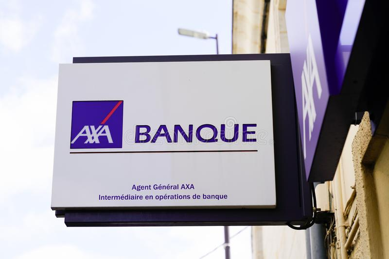 Bordeaux , Aquitaine / France - 09 24 2019 : axa banque sign French multinational bank and insurance royalty free stock photo