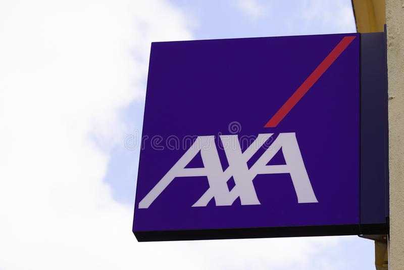 Bordeaux , Aquitaine / France - 09 24 2019 : axa sign French multinational insurance stock photos