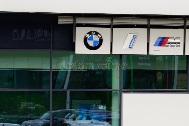 Bordeaux , Aquitaine / France - 10 27 2019 : BMW car i electric sign i3 i8 logo dealership store Motorsport store car royalty free stock photography