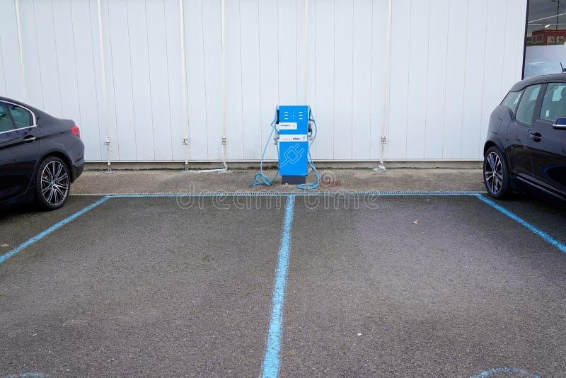 Bordeaux , Aquitaine / France - 02 15 2020 : BMW Electric car charging batteries dealership station automobiles for ev zero. Bordeaux ,  Aquitaine / France - 02 stock image