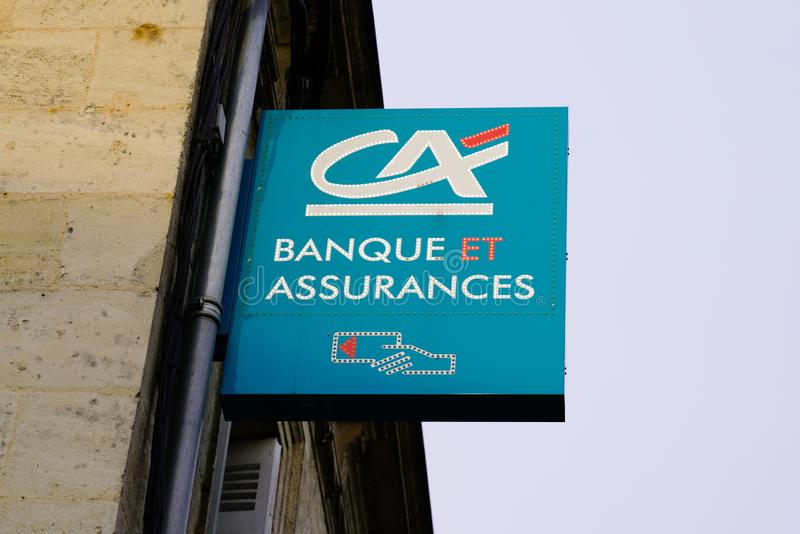 Bordeaux , Aquitaine / France - 09 23 2019 : CA is the largest retail Credit Agricole banking group in France. Bordeaux  , Aquitaine / France - 09 23 2019 : CA royalty free stock photos