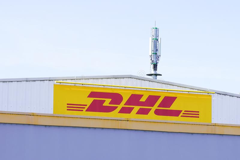 Bordeaux , Aquitaine / France - 10 25 2019 : facade store DHL distribution center sign office royalty free stock image
