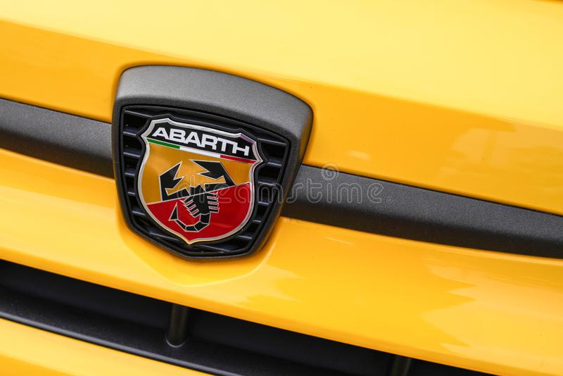 Bordeaux , Aquitaine / France - 10 14 2019 : front logo Detail Abarth car racing automobile maker sign stock image