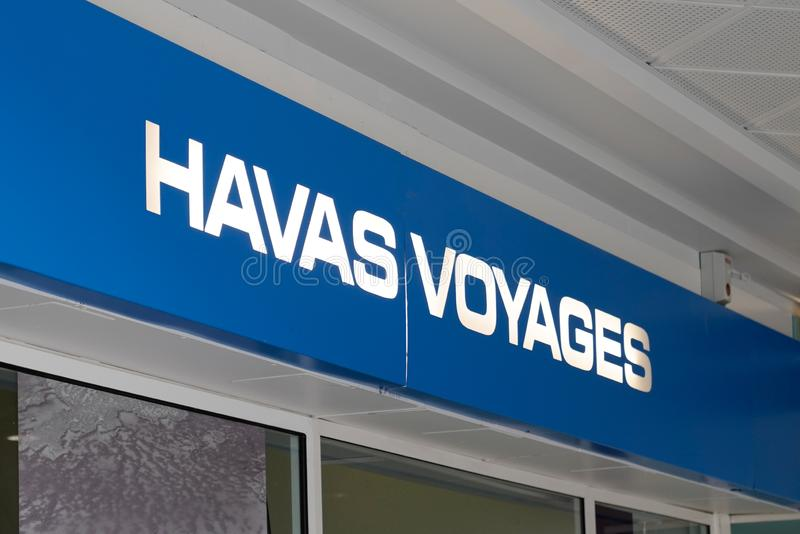 Bordeaux , Aquitaine / France - 09 24 2019 : Havas voyages sign shop store office on travel agency front stock image