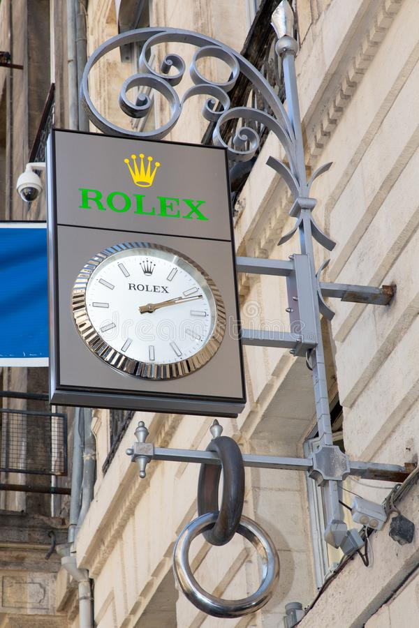 Bordeaux, Aquitaine / France - March 22 2019 :  Rolex SA is Swiss luxury watch manufacturer based in Geneva Switzerland - french stock photo