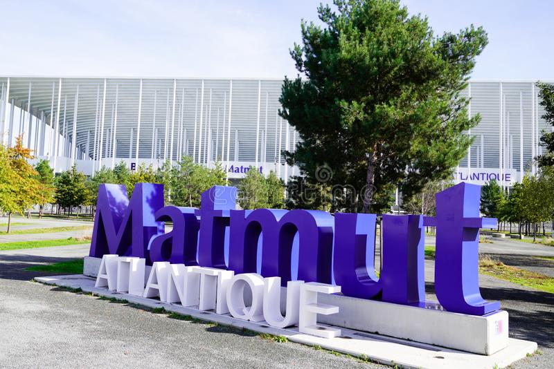 Bordeaux , Aquitaine/France - 10 25 2019 : Matmut Atlantique letters stadium logo sign in Bordeaux city france. Bordeaux  , Aquitaine/France - 10 25 2019 stock photo
