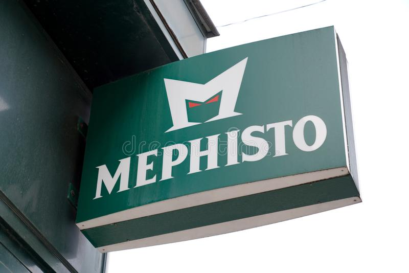 Bordeaux , Aquitaine / France - 10 06 2019 : Mephisto sign logo shop shoe store of the brand shoes and footwear manufacturer stock images
