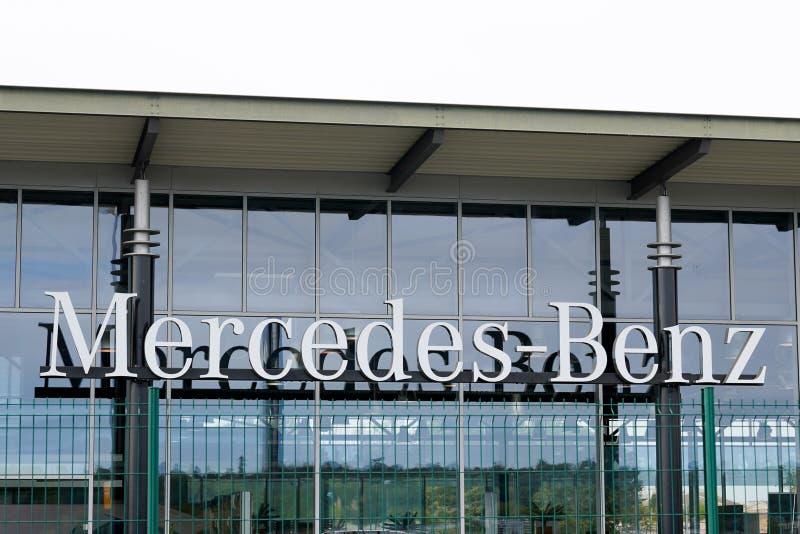 Bordeaux , Aquitaine / France - 10 15 2019 : Mercedes Benz Dealership Automobile sign shop logo car windows royalty free stock photos
