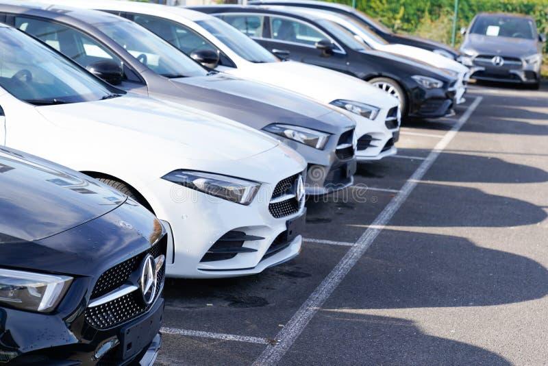 Bordeaux , Aquitaine / France - 12 04 2019 : mercedes car sale rent vehicle german automobiles dealership store. Bordeaux ,  Aquitaine / France - 12 04 2019 royalty free stock images
