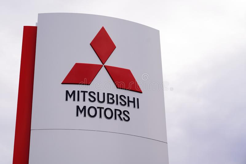 Bordeaux , Aquitaine / France - 10 30 2019 : Mitsubishi Official dealership sign logo store Motors Corporation shop Japanese. Multinational automotive royalty free stock photography